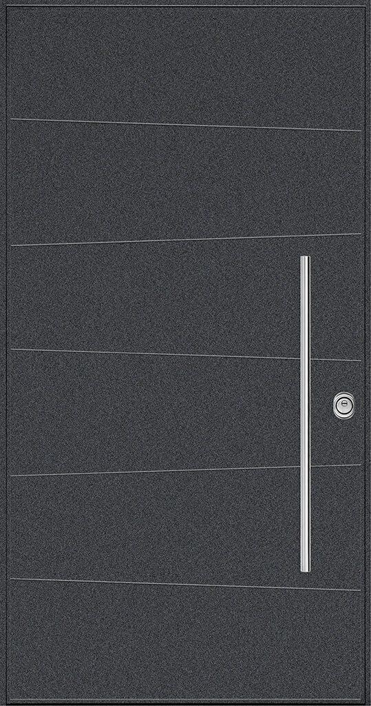 porta blindata rivestimento nero e inserti metallo