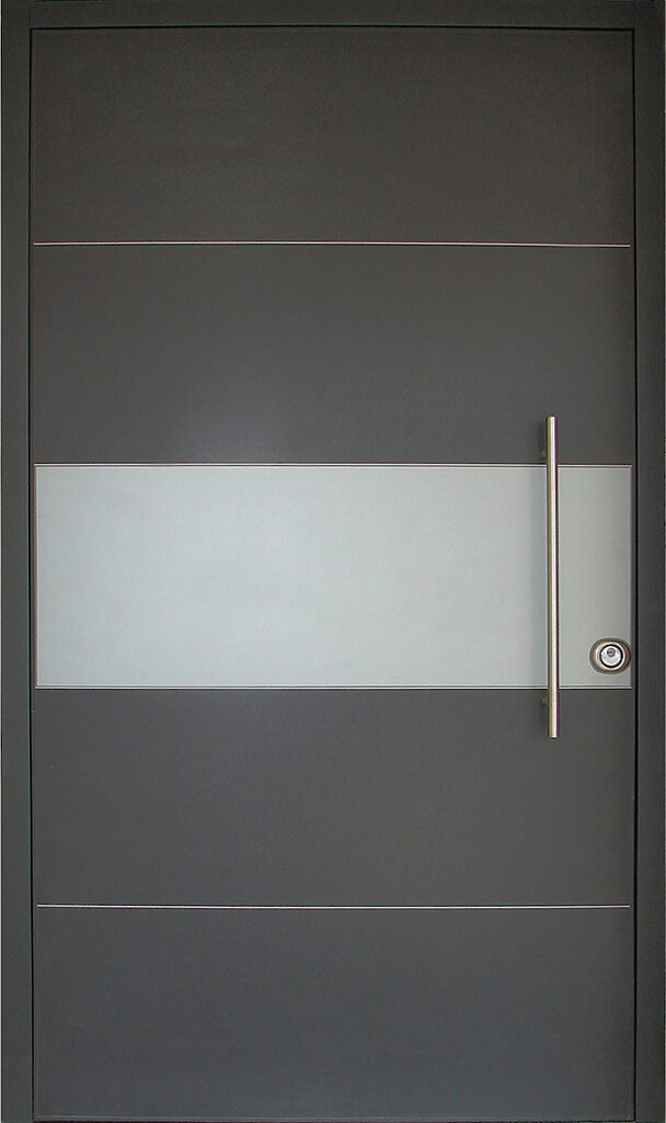 porta blindata rivestimento nero e grigio con inserti metallo