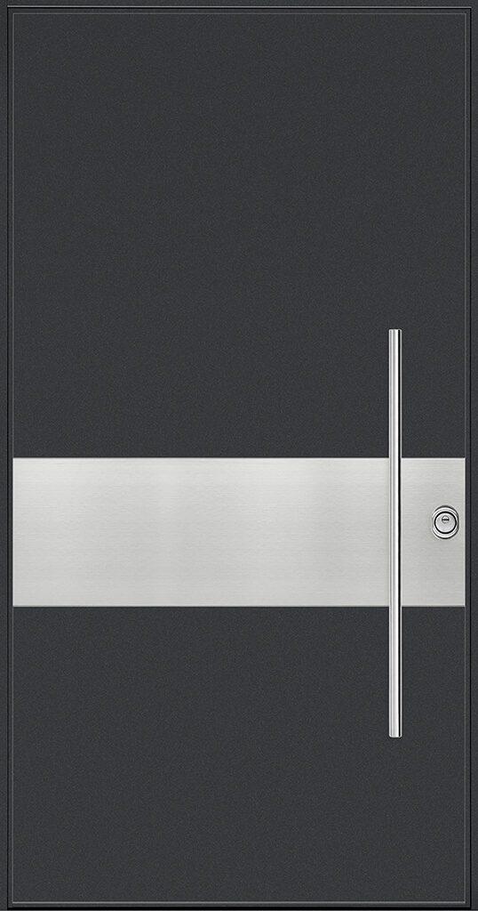porta blindata rivestimento nero e metallo