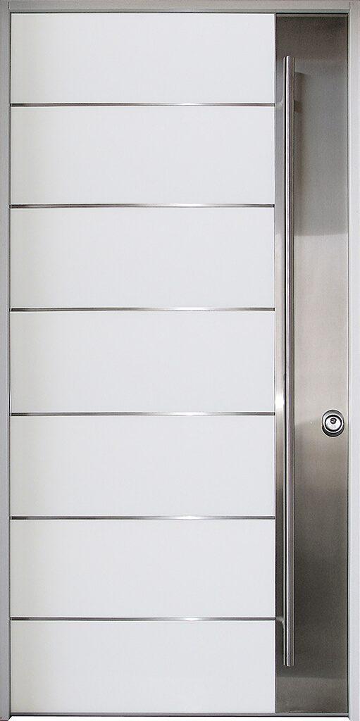 porta blindata rivestimento bianco con inserti in metallo