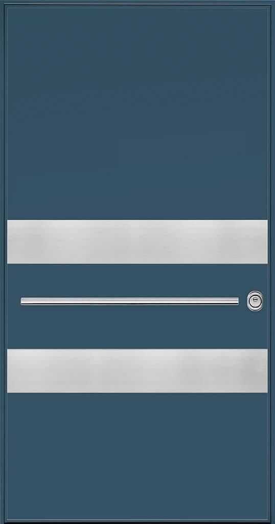 porta blindata rivestimento blu e metallo