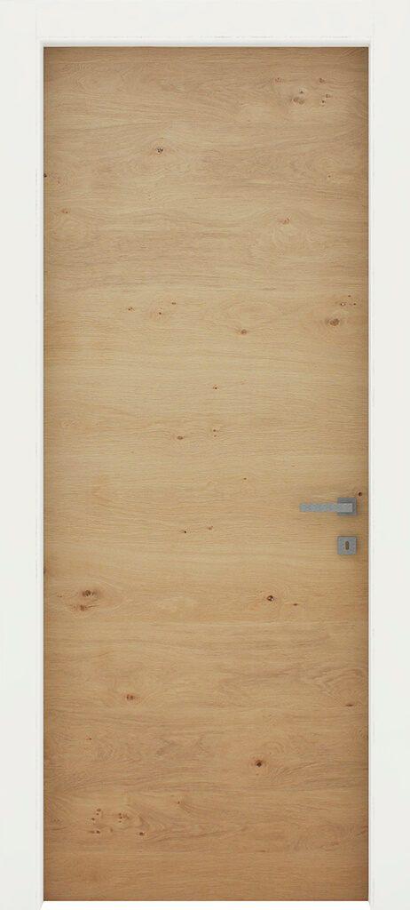 porta linea legno in rovere nodato con stipite bianco laccato